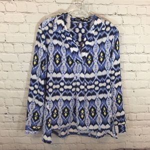 Jones New York Blue and Yellow Collared Blouse